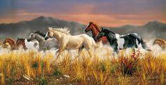 Puzzle panorámico de una manada de caballos ( Caballada) galopando por la predera. 13200 piezas de la marca Clementoni. De venta en puzzlemania.net