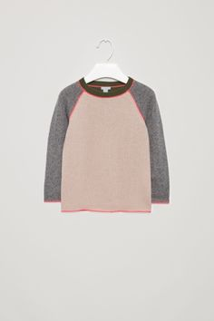 COS image 1 of Contrast-seam wool jumper in Rose Pink Innovation Design, Cos, Contemporary Style, Mini, Fashion Brand, Knitwear, Jumper, Contrast, Children