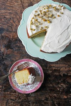 Chamomile Cake with Salted Honey Buttercream | Veggie Desserts Blog  This delicately fragrant chamomile tea cake is infused with whole chamomile buds to give it an aromatic, summery taste. Gently floral, it's complimented by the salted honey buttercream.