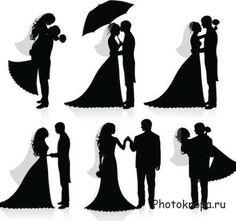 Силуэты жениха и невесты в векторе