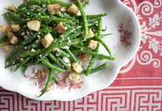 Green Beans Caesar by bijouxs: Blanch the green beans, bake the croutons, grate the Parmesan cheese, then the brief cooking assemblage takes place right before serving.