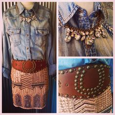 sequin mini, denim button down Cowgirl Chic, Western Chic, Cowgirl Style, Western Wear, Country Outfits, Western Outfits, Rodeo Outfits, Country Girl Style, Country Girls