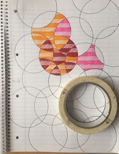 Doodling on lined paper, with felt tips, making overlapping circles with a roll of masking tape - fun cheap simple and effective :-)