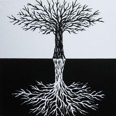 Yin Yang Tree Original Tree Painting Abstract by MatriXArtbyDV