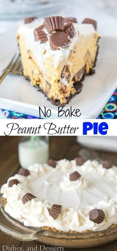 Chocolate Peanut Butter Cream Pie - A no bake peanut butter pie that is creamy and perfect for just about any occasion. It is topped with whipped cream and peanut butter cups for the ultimate dessert. Butter Cream Pie Recipe, Cream Pie Recipes, Tart Recipes, Best Dessert Recipes, Easy Desserts, Baking Recipes, Delicious Desserts, Healthy Desserts, Desert Recipes