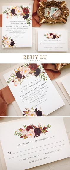 Click through to discover more! burgundy, floral, wedding invitations, marsala wedding invitations, fall wedding, wedding ideas, boho, bohemian, marsala, blush, colors, rustic, wedding invitation, fall, winter #bohowedding #weddinginvitations #rusticweddingideas