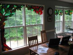 stained glass valances | Stained glass hung like curtains | DECOR - Windows