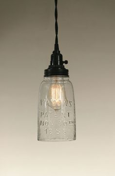 """4½"""" dia. and 11¼"""" tall. Includes a half gallon Mason jar with no bottom. Use these for higher wattage bulbs such as 40 or 60 watts. Shown with our 40 watt vintage bulb, not included. With the open bot"""