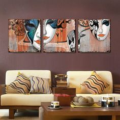 Classical Painting Peking Opera Mask Face Painting Wall Decor Print Picture On The Walls Art Canvas For Room Decorations 2 PCS