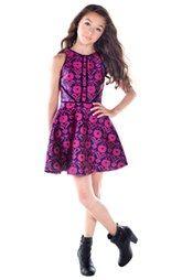 Miss Behave 'Kate' Print Jacquard Dress (Big Girls)