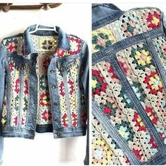 Crochet granny square panels in old denim jacket brings new boho chic to your cold wardrobe and uses up all those unused banker squares or odd balls of yarn too. Czekają na Ciebie nowe Piny: 18 - Poczta This Pin was discovered by nih Likes, 20 Comments - Pull Crochet, Mode Crochet, Crochet Coat, Crochet Jacket, Crochet Cardigan, Crochet Granny, Crochet Clothes, Diy Clothes, Crochet Baby