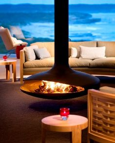 The Gyrofocus fireplace is enjoyed all around the globe. Checkout the Southern Ocean Lodge, displaying this fireplace among its luxurious ocean views.