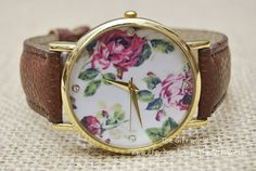 Floral Watches Vintage Style Brown Leather Watches by TheGiftWorld, $6.50 Personalized fashion leather flower watches,best gift of friendship.