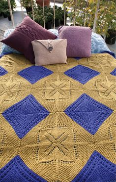 Lovely free knitting pattern — Modular Throw knit in Classic Elite Yarns Sprout, a soft 100% organic cotton yarn.