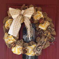 Burlap Yellow Chevron Wreath with Wooden Cross on Etsy, $75.00
