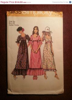 Uncut 1970's Simplicity Sewing Pattern 9835 Size 9 by EarthToMarrs