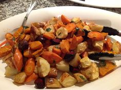 Winter veggies salad: Bake seasonal winter veggies until just cooked. Toss in a dressing made from olive oil, red wine vinegar, agave syrup, fresh basil leaves and salt & pepper to taste.