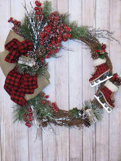 Christmas Wreath Lumberjack Wreath Holiday Wreath Winter