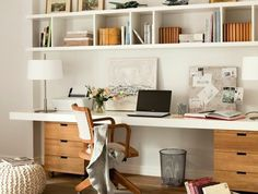 55 Incredible DIY Office Desk Design Ideas and Decor - Office Desk - Ideas of Office Desk - Office inspiration with shelves above desk and built in desk area. Mesa Home Office, Diy Office Desk, Office Shelf, Guest Room Office, Home Office Space, Office Decor, Office Ideas, Office Desks For Home, Office Designs
