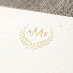 couples monograms with leaf frames   Image of Laurel Leaf Wedding Monogram