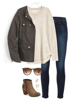 """""""classic"""" by tessorastefan ❤ liked on Polyvore featuring J Brand, H&M, BP., J.Crew, Kendra Scott, Ray-Ban and Cartier"""