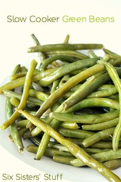 Slow Cooker Green Beans on SixSistersStuff.com - the easiest way to cook fresh green beans!