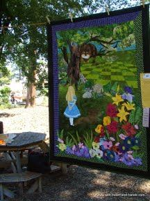 Alice in Wonderland quilt. I love how they used the original Cheshire cat instead of the Disney one.