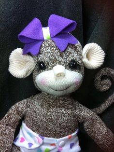 """RESERVED for Laurie ~  custom rockford sock 21"""" Monkey girl doll w sculpted hands & feet plus by Lizzy on Etsy, $57.00"""