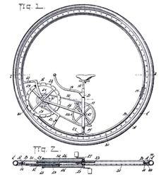American monowheel: 1897.  The mechanical details of Mr Venable's monowheel; note the roller-bearing between frame and wheel.    The patent drawing: 1897.    Patent number 611,534 was taken out in May 1897. Here the sprocket-and-peg drive to the main wheel can be more clearly seen.    Picture courtesy of Stephen Ransom.
