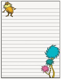 Need any medium for your kids to practice their writing accomplishment? Available for you some writing paper printable that you can save and print as your children's writing media. Dr. Seuss, Dr Seuss Week, Dr Seuss Font, Dr Seuss Activities, Book Activities, Sequencing Activities, Dr Seuss Birthday, Teaching Writing, Teaching Tools
