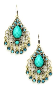 Turquoise Boho Chandelier Earrings ♡ L.O.V.E.