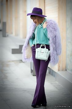 Looking for more Purple fashion & street style ideas? Check out my board: Purple Street Style by Street Style // Purple Fashion // Spring Outfit khoshtrik ring, phillip lim mini mint pashli bag, Purple Outfits, Colourful Outfits, Colorful Fashion, Fall Outfits, Casual Outfits, Purple Fashion, Colour Combinations Fashion, Color Combinations For Clothes, Color Combos