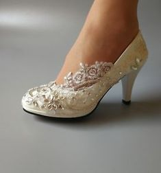 ca3c82e3c8ad NEW Handmade Drilling lace crystal Wedding shoes Bridal heels pumps heel 3