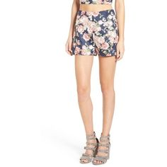 Women's Leith Floral Print High Waist Shorts ($55) ❤ liked on Polyvore featuring shorts, navy night floral, high waisted shorts, navy blue shorts, high-waisted shorts, navy shorts and high-rise shorts
