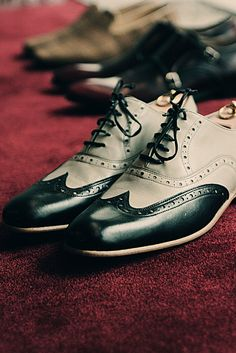 Black and light grey half brogue