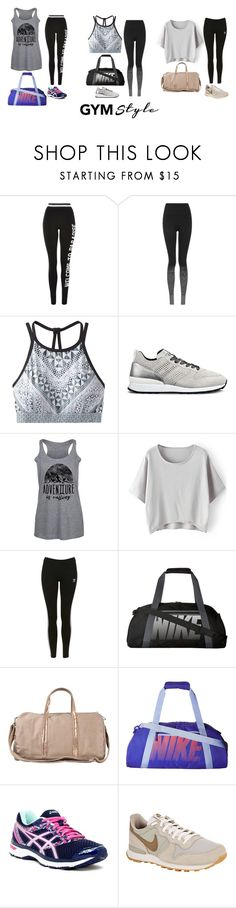 """""""984 (Work It Out: Gym Essentials)"""" by c-a-t-20 ❤ liked on Polyvore featuring Topshop, prAna, Hogan Rebel, NIKE, Vanessa Bruno, Asics and gymessentials"""
