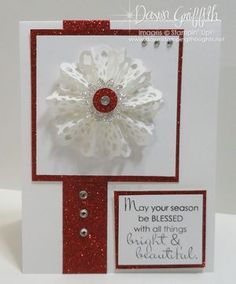 tutorial on how to make the snowflake in the center of this card