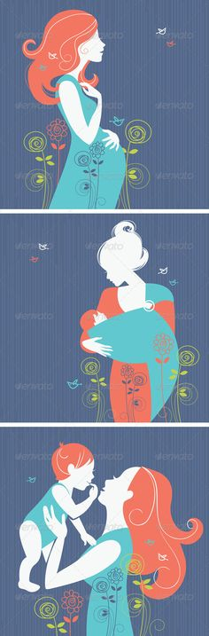 Set of Women Silhouettes        Set of silhouettes of pregnant woman, mothers and babies