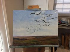 The shape and movement of flocks of bird is endlessly fascinating. i plan to make several attempts at soaring with the pattern of the thermal air currents. The canvas was carefully prepared, and protected with damar varnish. This is a high quality original art work, NOT a copy or