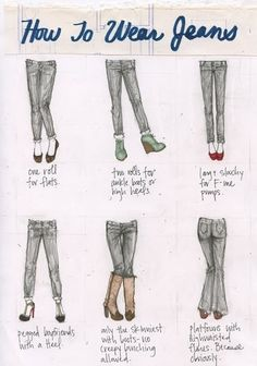 Art how to wear jeans wear-fashion Fashion Mode, Look Fashion, Fashion Beauty, Autumn Fashion, Fashion Tips, Jeans Fashion, Fashion Ideas, Fashion Hacks, Classic Fashion