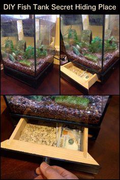 How cool is this DIY secret storage under a fish tank? Brilliant idea!