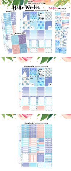 Cute winter themed printable planner sticker kit featuring polar bears. Designed for vertical planners such as Erin Condren. #commissionlink #plannerstickers #stickers #winter #erincondren #erincondrenlifeplanner