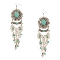 Antique Silver and Turquoise Stone Oval Medallion Chandelier Drop Earrings