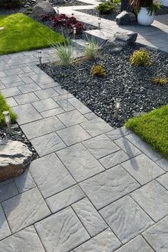 Browse pictures at HGTV of front and backyard landscaping ideas along with hardscape design including water features, pergolas, fire pits and more. Hardscape Design, Patio Design, Landscaping With Rocks, Outdoor Landscaping, Backyard Landscaping, Landscaping Ideas, Garden Paving, Garden Paths, Limestone Pavers
