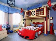 Decoración Beltrán: Google+ Race Car Bedroom, Car Themed Bedrooms, Bedroom Themes, Bedroom Designs, Bedroom Decor, Garage Bedroom, Garage Loft, Bed Designs, Boys Bedroom Cars