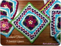 Crochet the happy Starburst Flower Mandala Square - flower and leaves encased in a circle turned into a square with X♥X♥ embellishments. // 2014 Moogly CAL + see notes Crochet Squares Afghan, Crochet Square Patterns, Crochet Blocks, Crochet Granny, Granny Squares, Crochet Motif, Crochet Flowers, Crochet Stitches, Crochet Bags