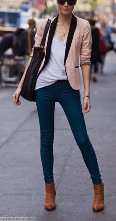 pink + black blazer + dark jeans. Fun friday outfit for the classroom