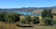 The Axarquia region - the view of Lake Vinuela looking south from Periana towards the coast.