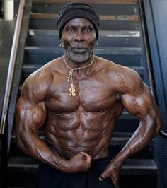Robby Robinson, Prince of Body Building at 68yrs old. He started working out when he was 12yrs old, and winning various competitions including Mr. America, Mr. World, Mr. Universe, Masters Olympia and other titles of the International Federation of bodybuilding and Fitness.