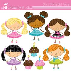 Stick Figure Pettiskirt chicas Personal y comercial uso imágenes prediseñadas Set - descarga instantánea